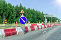 Road reconstruction in forest countryside asphalt Royalty Free Stock Photo