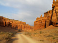 Road in red Canyon Charyn (Sharyn) at sunset Royalty Free Stock Photo
