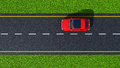 Road with red car top view a on asphalt and green grass Royalty Free Stock Image
