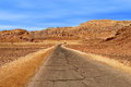 Road through red mountains in timna park paved arava desert among national israel Royalty Free Stock Image