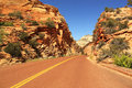 Road between red rocks, Zion National Park, Utah, USA Royalty Free Stock Photo