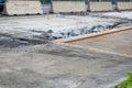 Road repair close up construction debris on roadway Stock Photo