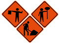 Road repair signs Stock Image