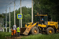 Road repairs in the Kaluga region in Russia.