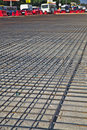 Road repairs renewal of the asphalt paving on the metal grid on the concrete base Royalty Free Stock Images