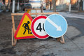 Road repairs signs repair of roads Royalty Free Stock Image