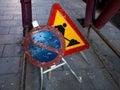 Road repairs signs