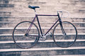 Road retro bicycle and concrete stairs, urban scene vintage styl Royalty Free Stock Photo