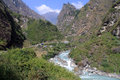 Road and river in nepal dirt a md mountain on the annapurna trail Royalty Free Stock Photography
