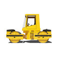 Road roller isolated on white background yellow asphalt ready to use illustration Stock Photos