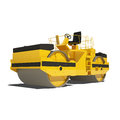 Road roller isolated on white background yellow asphalt ready to use illustration Stock Images