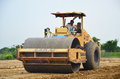 Road roller steamroller or vibratory roller on construction site Royalty Free Stock Photo
