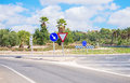 Road and roundabout on the the balearic islands Stock Photography