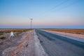 Road in salt desert Chott el Djerid, Sahara desert, Tunisia, Africa Royalty Free Stock Photo