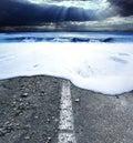 Road and sea.Sea storm concept