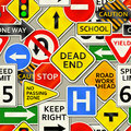 Road sign background a depicting various types of signs Stock Image