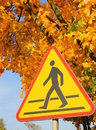 Road sign - beware of pedestrians. Royalty Free Stock Photo