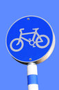 Road sign bike lane over blue Stock Photo