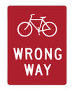 Road sign - bike wrong way Stock Images