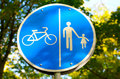 Road sign for bikes and pedestrians Royalty Free Stock Photo