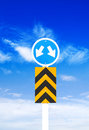 Road sign a blue sky background clipping path right and left Stock Photo