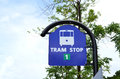 Road sign - blue tram stop sign Royalty Free Stock Photo
