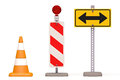 Road sign cone and signs on white background Stock Images