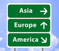 Road sign of continents