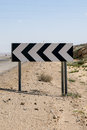 Road sign about dangerous curve on a way through the negev desert israel Stock Photography