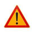 Road sign with exclamation mark isolated on white warning Stock Photography