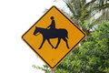 Road sign horse warning crossing Stock Photography