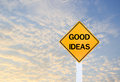 Road sign indicating Good Ideas on blurred sky background Royalty Free Stock Photo