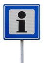 Road sign indicating an information point Royalty Free Stock Photo