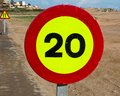 Road sign kph speed limit on spainish roadside Stock Photos