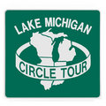 Road sign - Lake Michigan circle tour Royalty Free Stock Images