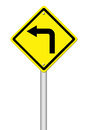 Road Sign - Left Turn Warning Stock Photo