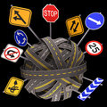 Road sign mess way asphalt tangled and messy concept of on the Stock Image