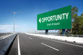 Road with sign of opportunity conceptual image Royalty Free Stock Photos