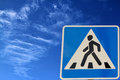 Road sign pedestrian crossing. Stock Images