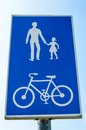 Road sign for pedestrians and cyclists Royalty Free Stock Photo