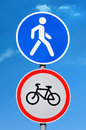 Road sign permission for pedestrians and bicycle ban Royalty Free Stock Photo