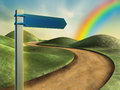 Road sign pointing toward a rainbow in the sky digital illustration Royalty Free Stock Image