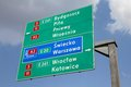 Road sign in poland directions showing directions to major city by national roads and a highway bydgoszcz pila warsaw wroclaw and Royalty Free Stock Photos