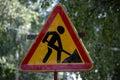 Road sign repair work