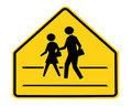 Road sign - school crossing with lines Stock Photo