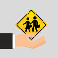 Road sign school zone icon Royalty Free Stock Photo