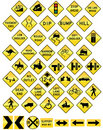 Road sign set warning Stock Images