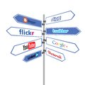 Road sign social networks modern simbol of communication Royalty Free Stock Photos