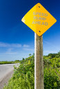 Road sign speed bump ahead a yellow reading on a wooden post against a deep blue sky some shubs in the back ground and a bit of Royalty Free Stock Photos