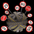 Road sign speed limit asphalt tangled and messy concept of Stock Image